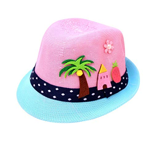 Kids Baby boy Summer Straw Hat Panama Cap Cartoon Beach Sun Protection Hats for Girls Sun Visor Hats UV Pink