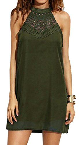 Tank Sundress Cut Chiffon Sleeveless Domple Army Green Dress Women Mini Sexy Summer s Out wYnxY4zSf