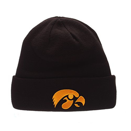 ZHATS Iowa Hawkeyes Black POP Cuff Beanie Hat - NCAA Cuffed Winter Knit Toque Cap