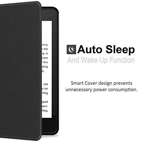 KHOMO Kindle Paperwhite Case 10th Generation 2018, Smart Shell Cover with Auto Sleep Wake Feature and Hand Strap - Black