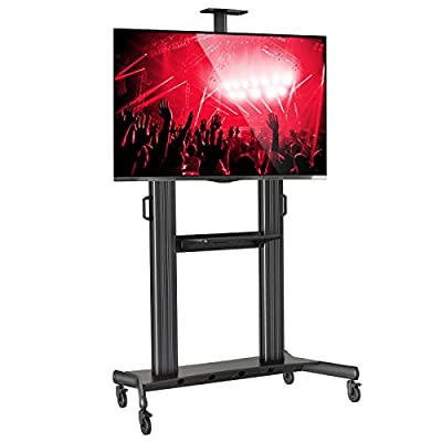 Mount Factory Rolling TV Stand Mobile TV Cart for 40-90 inch Flat Screen, LED, LCD, OLED, Plasma Curved TV's - with Mount Universal with Wheels