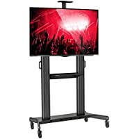 Mount Factory Rolling TV Stand Mobile TV Cart for 40-90 inch Flat Screen, LED, LCD, OLED, Plasma Curved TVs - with Mount Universal with Wheels