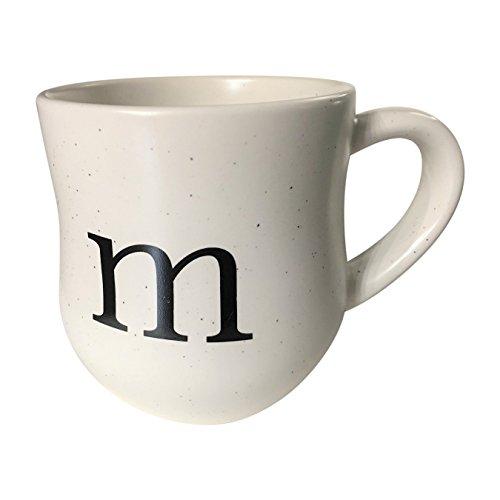 Speckled White Monogram Stoneware Large Coffee Mug - 18 Ounces (M)