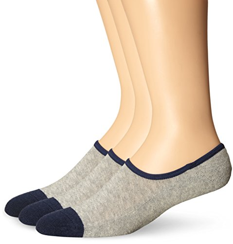 Timberland Men's 3 Pack Canvas Shoe Liner Sock, Gray Heather, Sock Size:10-13/Shoe Size: 6-12