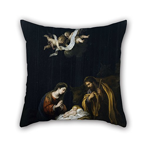 artistdecor The Oil Painting Bartolomà Esteban Murillo - The Nativity Pillow Cases of,20 X 20 Inches / 50 by 50 cm Decoration,Gift for Family,Teens Boys,Home Theater,Bedding,bar Seat (2 Sides)