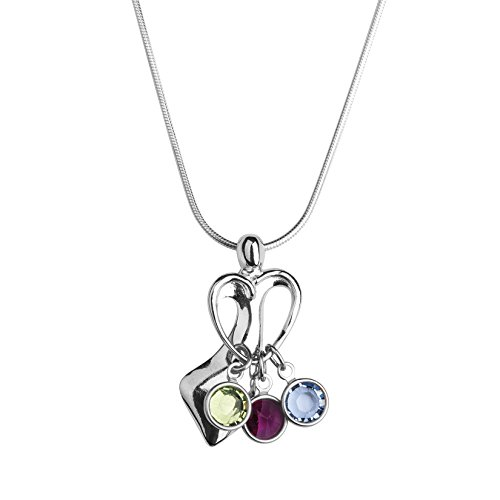 Loving Family - Sterling Silver Pendant Necklace with 3 Swarovski Crystal Birth Month Charms - 18