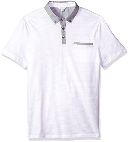 Calvin Klein Men's Short Sleeve Cotton Fashion Polo Shirt, Standard Ghost White, Large ()