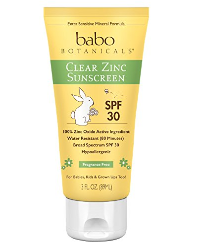Babo Botanicals SPF 30 Clear Zinc Lotion - Fragrance Free, 3 Ounces, Best Natural Mineral Sunscreen, Non-Nano, Sensitive (Clear Screen Free)