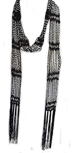 Fishnet Beaded Scarf, summer Belt, infinity scarf, necklace (BLS01-BLK)