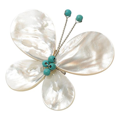 Szxc Women's Gemstone Turquoise White Shell Butterfly Brooch Pin - Brooch Shell