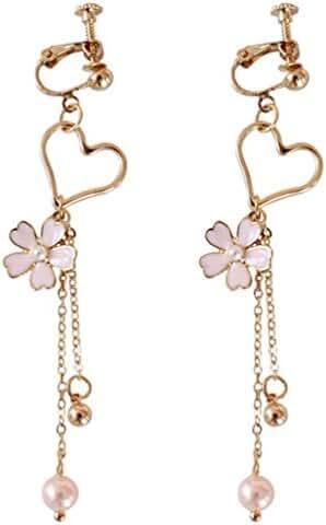 Screw Back Clip on for Non Piercing Flower Heart Simulated Pearl Long Tassel Earring Dangle for Girl