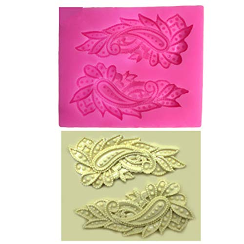 2 pcs Peacock Feather Wings Shape DIY Baking Tool Fondant Cake Liquid Silicone ()