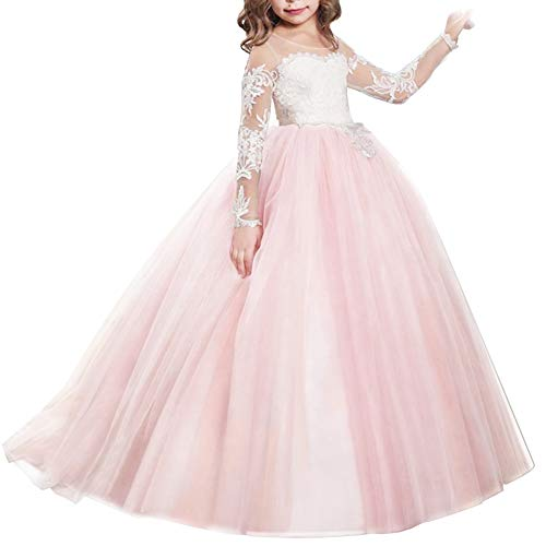 FYMNSI Flower Girls Lace Appliques Wedding Tulle Dress First Communion Long Sleeve Birthday Christmas Party Ball Gown Pink 12-13T]()