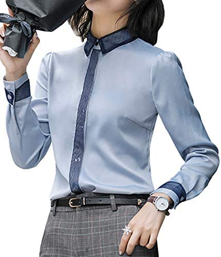Womens Soft Satin Shirts Long Sleeve Office OL Blouse Casual Slim Fit Work Tops