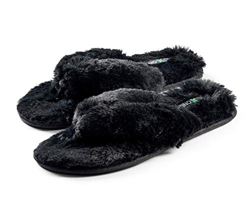 Roxoni Womens Fuzzy Slippers; A Cozy spa Thong flip Flop House Shoes