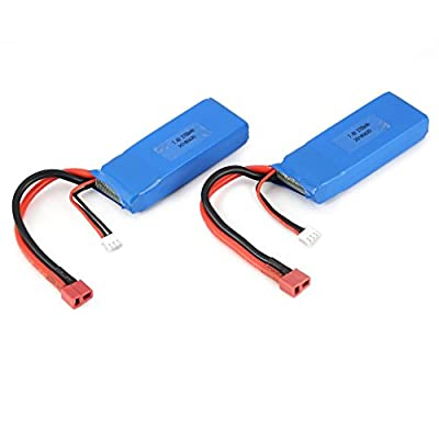 Lovescenario 2pcs 7.4V 2700mAh 20C 2S Lipo Battery with T Plug for Wltoys 10428-A 10428-B 10428-B2 10428 1/10 RC Crawler Car Feilun FT012
