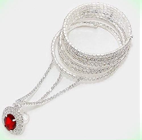 Silver Clear White Crystal Rhinestone Wedding Slave Hand Chain Ring Bracelet