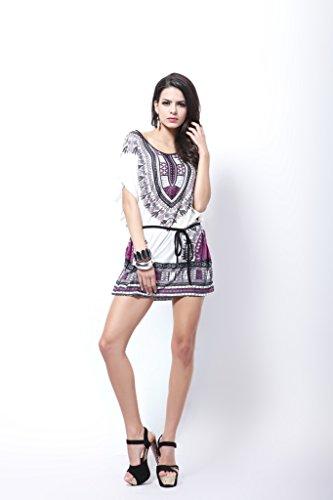 Style Bohme Robe Manches d'Et souris pour Violet Taille Plus Courtes Ethnique Blouse Femme Chauve qq8xwEFzr