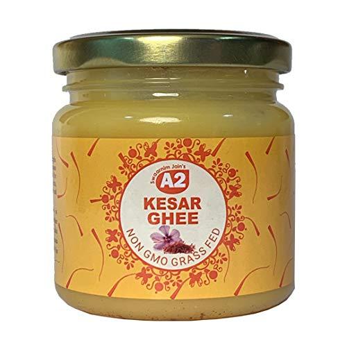 A2 Kesar Ghee 6.7oz - Swaarnim Jains' A2 Brahma Muhurta Gir Cow Ghee kesar Blend 200ml - Probiotic Properties - 0% Trans Fat - Grass-Fed - Non-GMO - Made in Brahma Muhurta - Pure & Purifying