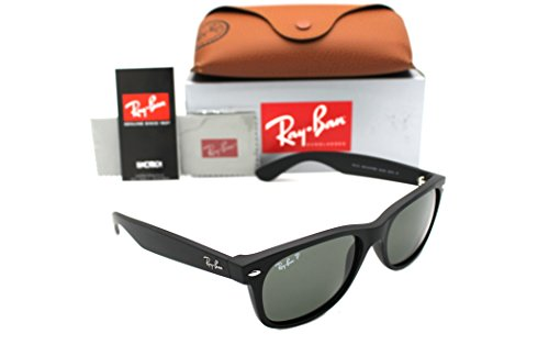RAY-BAN RB 2132 622/58 52mm NEW Wayfarer Matte Rubber Black with Green - Matte Ban Ray Green Wayfarer