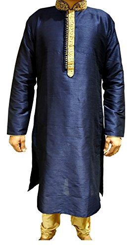Tathastu Mens Kurta Pyjama Set 1411 Blue-42 ()