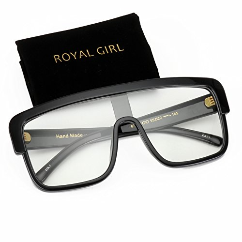 ROYAL GIRL Premium Oversized Sunglasses Women Flat Top Square Frame Shield Fashion Glasses (Clear Lens, - Thick With Glasses Girl