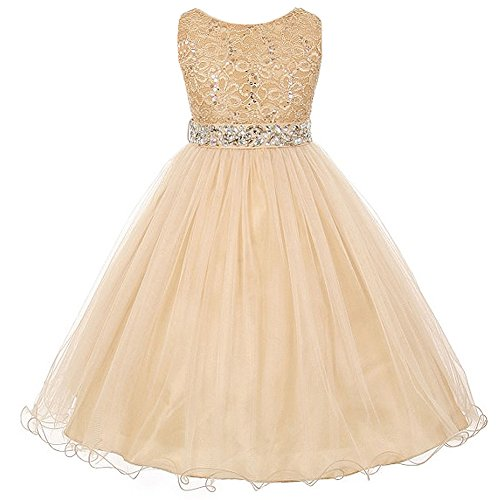 Big Girls Sleeveless Dress Glitters Sequined Bodice Double Layer Tulle Skirt Rhinestones Sash Flower Girl Dress Champagne/Gold - Size -