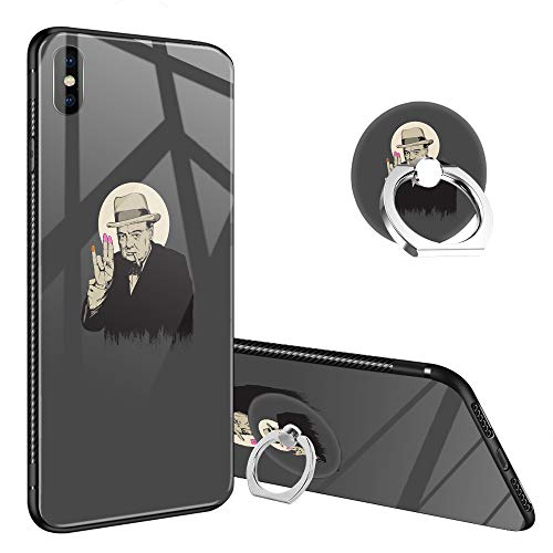 iPhone Xs Case,Churchill The Shoker iPhone X Tempered Glass Back Cases with Finger Ring Stand for Girl/Boys, 360°Rotatable Ring Holder Kickstand Fashoin Soft TPU Bumper Frame Case for iPhone X/Xs