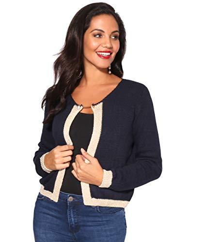 2899-NVY-6/8: Lurex Trim Knitted Cardigan Navy