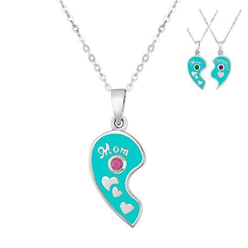 Esty   Me Two Tone Necklace W Swarovski Birthstone Mom Heart Charm Left Half   October