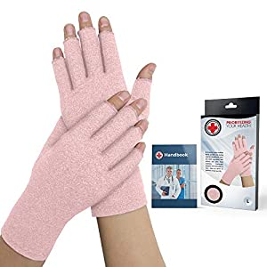 Doctor Developed Ladies Pink Arthritis Gloves/Compression Gloves for Women and Doctor Written Handbook -Relieve Joint… 17
