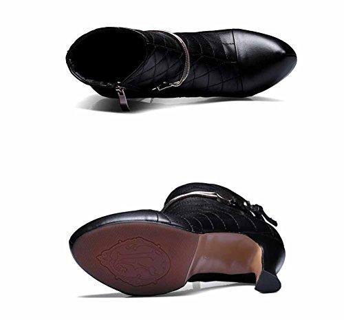 Boots Winter Ankle New Autumn Pumps Buckle High Leather Boots Platform Short Waterproof Fashion Women Heel Black Belt qT5wIZnn