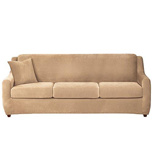 (Sure Fit Stretch Pique 3-Seat Sleeper Sofa Slipcover - Cream)