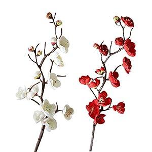 EOPER 4 Pieces Artificial Plum Blossom Flowers Silk Simulation Flower Bouquet Home Wedding Decor Floral Arrangements 79
