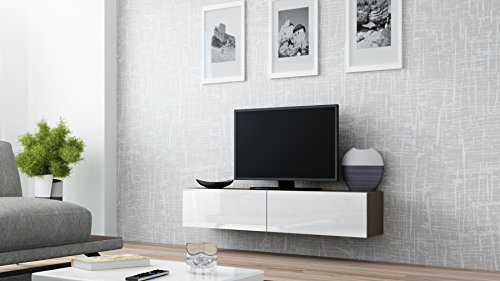 Seattle Floating TV Cabinet – TV Stand with High Gloss fronts - Seattle Hanging TV console (Small, Latte & White) by Concept Muebles