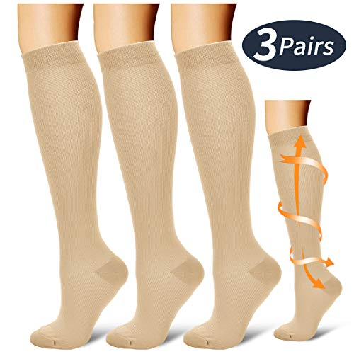 Compression Socks,(3 Pairs) Compression Sock for Women & Men,Best Medical, Nursing, for Running, Athletic, Edema, Varicose Veins.