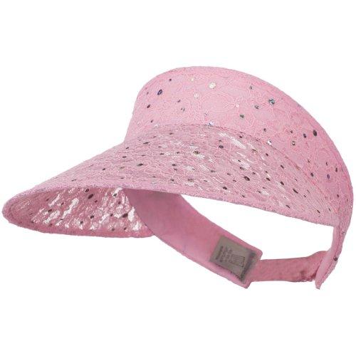 Lace Glitter Sun Visor - Pink - Lace Hat E4hats