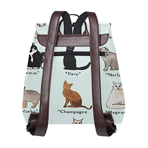 Vinnamn för katter ryggsäck handväska mode PU-läder ryggsäck ledig ryggsäck för kvinnor