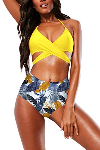 Pink Queen Women's Halter Cross Wrap Bandage Push Up Printed High Waisted 2 Piece Swimsuit M Yellow