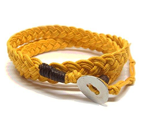 NA RIN Bracelet Men Women Classic Thai Boxing Outdoor Cotton String 3 Wrap Yellow Adjuastable