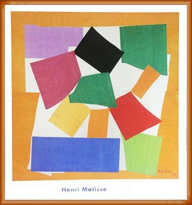 ポスター アンリ マティス カタツムリ 1953 額装品 ウッドベーシックフレーム(オレンジ) B072QWLFKPオレンジ