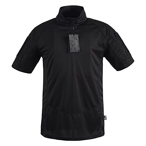 OneTigris Tactical Shirt Stand Collar in Short Sleeve (S, Black) - Quarter Zip Shirt