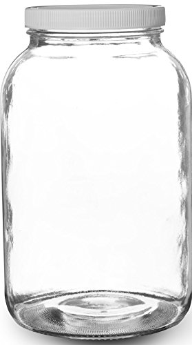 Pakkon Wide Mouth Glass Mason Jar with PlasticLid/Ferment & Store Kombucha Tea or Kefir/Use for Canning, Storing, Pickling & Preserving Dishwasher Safe, Airtight Liner Seal, 1 gallon - Large Glass Jar