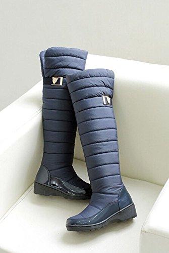 2015 forme Nouvelle Plate Garder Mode Bleu Femmes D'hiver Les Arrivée Bottes Cuissardes Chauds De Neige Chaussures La Pour 00Hrqdyp