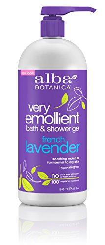 100 % Pure Shower Gel Organic Lavender - Alba Botanica Very Emollient, French Lavender Bath & Shower Gel, 32 Ounce