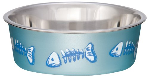 Image of Loving Pets Fish Bella Bowl for Cat, X-Small, Metallic Ocean Blue