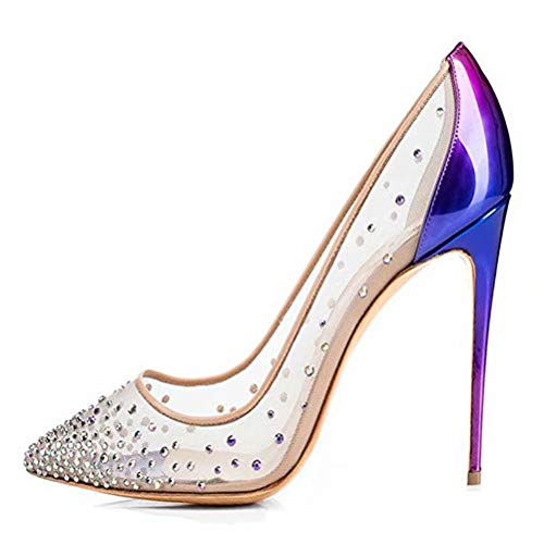 Chris-T Clear Lace Wedding Pumps Crystal Bridal High Heels Rhinestone Evening Party Dress Pump