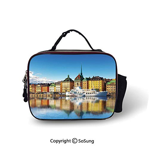 Wanderlust Decor Leakproof Reusable Insulated Cooler Lunch Bag Summer Panorama of the Gamla Stan in Stockholm Sweden Yacht Ship by the Port Ocean Picnic Hiking Beach Lunch bag,10.6x8.3x3.5 inch,
