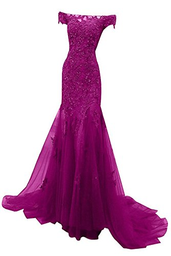 M Bridal Women's Beaded Appliques Cap Sleeve Off Shoulder Mermaid Evening Dress