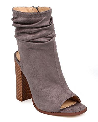 Liliana Women Bootie - Liliana Women Suede Peep Toe Ankle Cutout Block Heel Slouch Bootie EE59 - Grey (Size: 10)